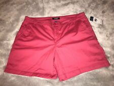 Chaps Denim Jean Stretchy Bermuda Shorts Womens Size 16 Amalfi Red NWT MSRP $50