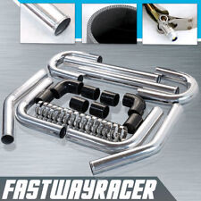 Universal Black 2.5'' Polished Aluminum FMIC Intercooler Piping Kit DIY Pipe