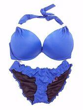 Victoria's Secret Swimsuit Bikini Hottie Halter & Ruffle Cheeky Bottoms 34DD-XS