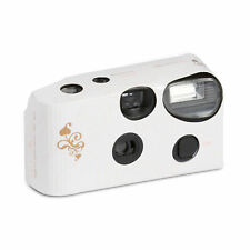 Disposable Cameras with Flash White Wedding Gold Swirl Pack of 10
