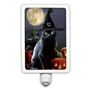 Halloween Black Cat Witches Hat Pumpkin Moon Night Light