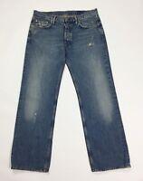 Mauro grifoni jeans slim strappi vintage w32 tg 46 blu denim boyfriend T3193
