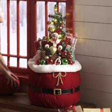 "NEW Raz 32"" Lighted Santa's Toy Bag Christmas Figure Decoration with Elf 3715500"