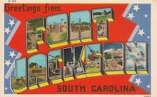 Greetings From Fort Jackson Sc Large Letter Linen Postcard Military