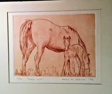"Vintage Etching ""Time Out"" 4/30 Horse Mare & Foal by MARY E. KRAUSE Signed"