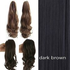UK Ponytail Clip In Hair Extensions Claw On Pony Tail Real As Human Long Curly