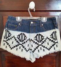 Minkpink Womens Shorts XS High Waisted Aztec Print Cut-Off Fringe Very Cute New