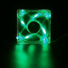 80mm 4-LED Light Neon Quite Clear PC Computer case Bearing Fan Cooler Green Mod