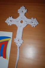 Handmade crochet cross bible bookmark WHITE. Great Gift item. Free Shipping!