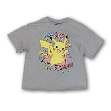 Pokemon Pikachu Mad Engine Women's Gray Cropped Short Sleeve T-shirt