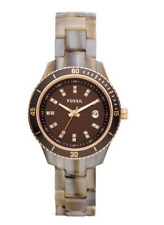 Fossil ES3094 Stella Brown Dial Rubber Strap Women's Watch