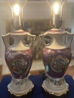 Vintage Hand Painted Urn Style Lamps w/Courting Couple Scene, Scalloped GoldBase