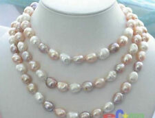 Long 50 Inches 9-10mm baroque multicolor freshwater pearl necklaces AA
