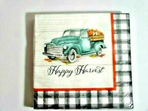 Happy Harvest Vintage Blue Truck Party Napkins 2-Ply 36-Count Pumpkins Checks