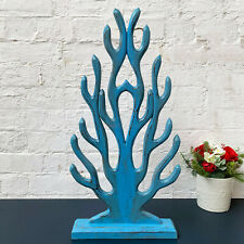 Vintage Pastel Blue Standing Wooden Coral On Base Sculpture Decor Ornament Large