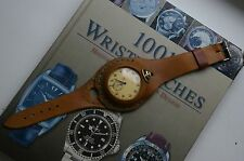 Russian  vintage pocket watch MOLNIJA ship +Brown Leather Watch Wrist Band
