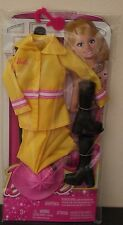 Barbie Firefighter Yellow Outfit  Pink Hard Hat & Black Boots Clothes Set