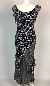 Per Una Midi Dress UK 10 Bias Cut Black White Dots Spots Holiday Party Cruise