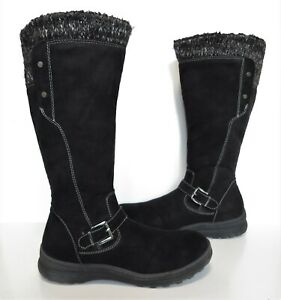 Ladies TU Black faux suede leather knee-length winter boots Size 7 Exc Cond