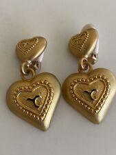 Vintage Heart Matte Gold Dangle Clip Earrings