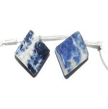 NG1643f Blue & White Sodalite 18x13 Faceted Diamond Natural Gemstone Beads 2/pkg