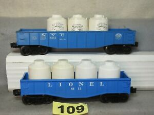SET OF TWO LIONEL O GAUGE POST WAR GONDOLAS IN EXCELLENT READY TO RUN CONDITION