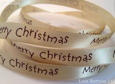 10mm MERRY CHRISTMAS GOLD SATIN RIBBON FULL ROLL 20m