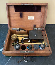 Leitz 1895 Brass Field Microscope with Original Wood Box ~ Serial # 47950