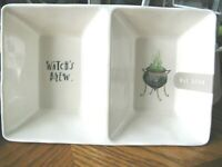 New Rae Dunn Artisan Farmhouse Halloween Witch's Brew Divided Bowl Tray Dish