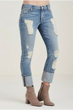 True Religion Womens Jeans Liv Low Rise Relaxed Skinny Exaggerated Cuff WF046ZC4