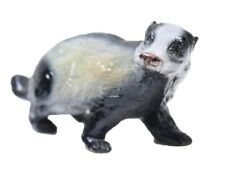 Vintage Marioni Badger Ceramic Animal Figurine Gray White Italy Signed