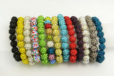 Wholesale Lots 10pcs Shamballa Crystal Disco Ball Beads Bracelets