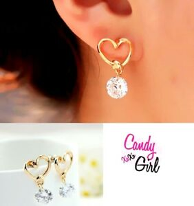 Cute Crystal Diamante Gold Heart Drop Dangle Fashion Earrings