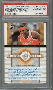 CARMELO ANTHONY SIGNED 2003 UD SIGNS OF SUCCESS ROOKIE CARD      PSA GEM MINT 10