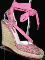 Betseyville Betsey Johnson pink canvas espadrille lace up platform wedges 6.5