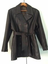 """Heavy Real Leather Brown Resistance Style Buttoned Box Jacket W Belt 38-40"""""""