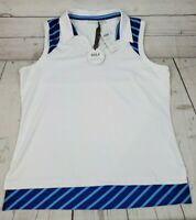Chicos Zenergy Golf Size 2 Sleeveless White Polo Shirt Stretch Inset Stripes