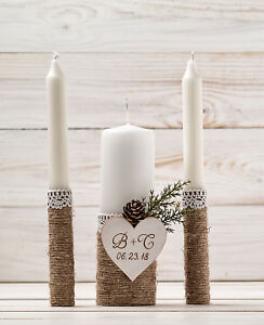 Personalized Winter Wedding Candle Set, Church Ceremony Candle Set