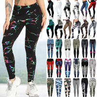 Women Yoga Sports Leggings High Waist Pants Workout Fitness Gym Print Trousers