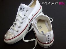 CONVERSE ALL STAR White with SWAROVSKI CRYSTALS and stars heel and toe bride