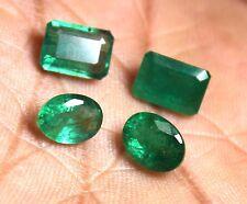 Natural  8.75 Ct  Loose Gemstone Emerald Zambia Cut Stone Mix Shape 4 Pcs Lot
