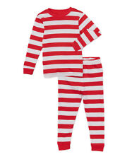 Boys LEVERET boutique Christmas pajamas 14 NWT red white striped long cotton