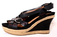 Earthies Salerno Too Blk Leather Open-Toe Buckle Slingback Wedge Women's US 7.5B