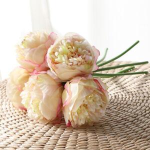 5 Heads Artificial Silk Fake Large Peony Flowers Hydrangea Wedding Party DecJH