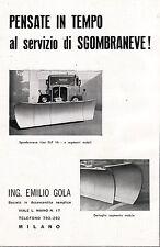 PUBBLICITA' 1956 SGOMBRANEVE ELF 1H EMILIO GOLA SCHNEEPFLUG MILANO LAMBRATE