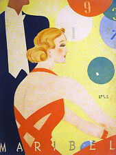 Mario Leon Maribel Spanish Deco Cover 1936 SOPHISTICATED GIRL at PARTY Matted