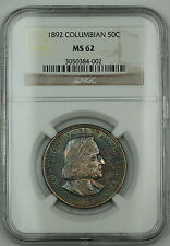 1892 Columbian Silver Half Dollar NGC MS-62 *V. Choice BU* Toned (Proof Obv Die)