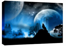 "LARGE WOLF MOONLIGHT CANVAS PRINT PICTURE BLUE 30""x20"""