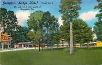 Brunswick GA~Trees in Courtyard @ Georgian Motel~1940s Linen Roadside Postcard