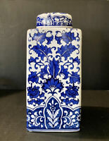"Hand Painted Blue and White Floral Chinese Porcelain Vase Fine China Jar 12""H"